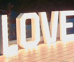 Bulb love letters Santorini